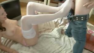 Beggar seduces his cute tee girlfriend to have sex on webcam