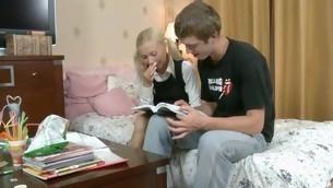 Increadibly hawt lawful age teenager worships huge rod of her fucker