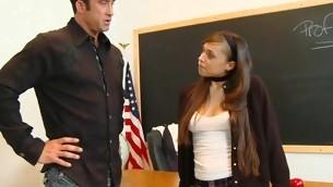 Gorgeous legal age youth slut sucks and rides her teacher's schlong