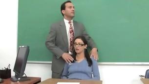 Shapely schoolgirl meeting her first big mature cock