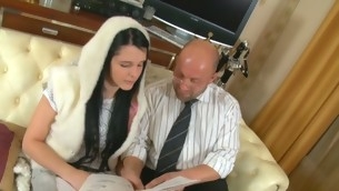 Sweet darling is receiving concupiscent lessons from old teacher