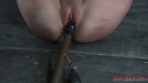 Gagged chick gets coarse cunt playing from hangman